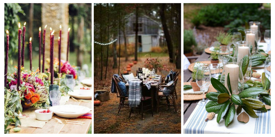 Three different outdoors thanksgiving tables.