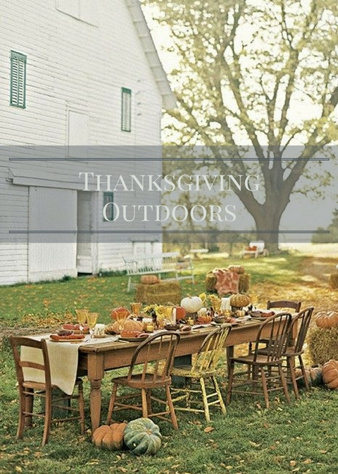 thanksgving table set outdoors